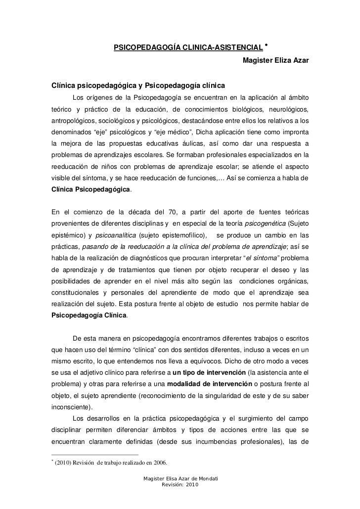 PSICOPEDAGOGÍA CLINICA-ASISTENCIAL                                                                            Magister El...