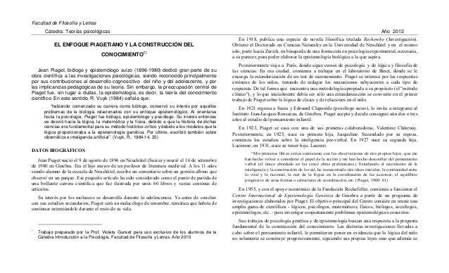 Facultad de Filosofía y Letras Cátedra: Teorías psicológicas Año 2012 EL ENFOQUE PIAGETIANO Y LA CONSTRUCCIÓN DEL CONOCIMI...