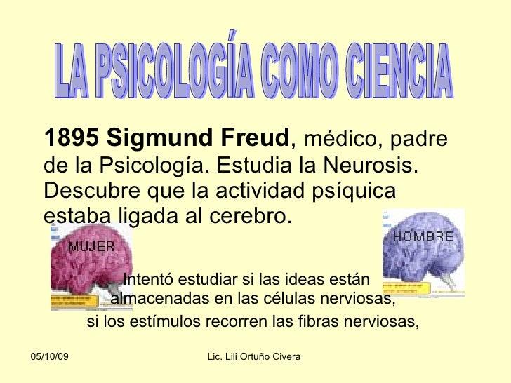 1895 Sigmund Freud ,  médico, padre de la Psicología. Estudia la Neurosis. Descubre que la actividad psíquica estaba ligad...