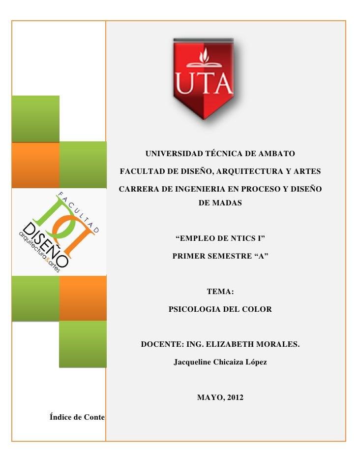 UNIVERSIDAD TÉCNICA DE AMBATO                   FACULTAD DE DISEÑO, ARQUITECTURA Y ARTES                  CARRERA DE INGEN...