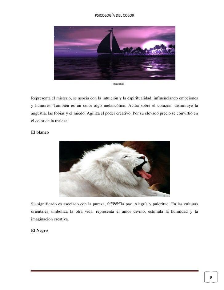 PSICOLOGÍA DEL COLOR                                               Imagen 8Representa el misterio, se asocia con la intuic...
