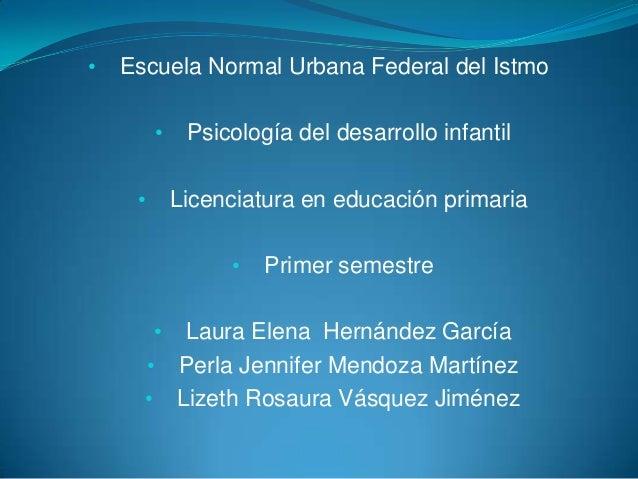 •  Escuela Normal Urbana Federal del Istmo • •  Psicología del desarrollo infantil Licenciatura en educación primaria •  •...