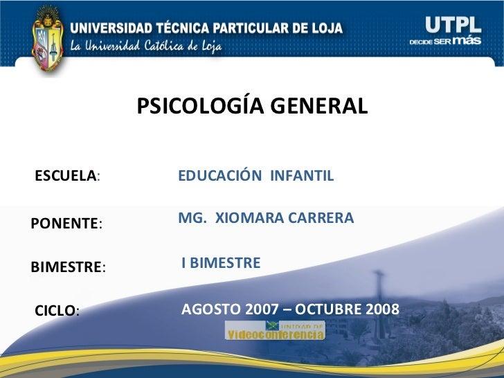 ESCUELA : PONENTE : BIMESTRE : PSICOLOGÍA GENERAL CICLO : EDUCACIÓN  INFANTIL I BIMESTRE MG.  XIOMARA CARRERA AGOSTO 2007 ...