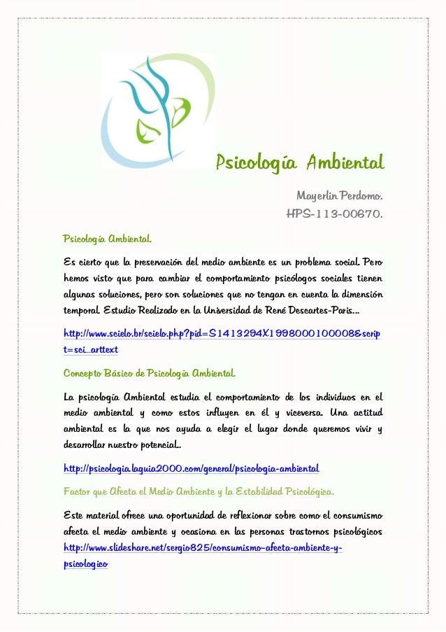 Psicología Ambiental                                                        Mayerlin Perdomo.                             ...