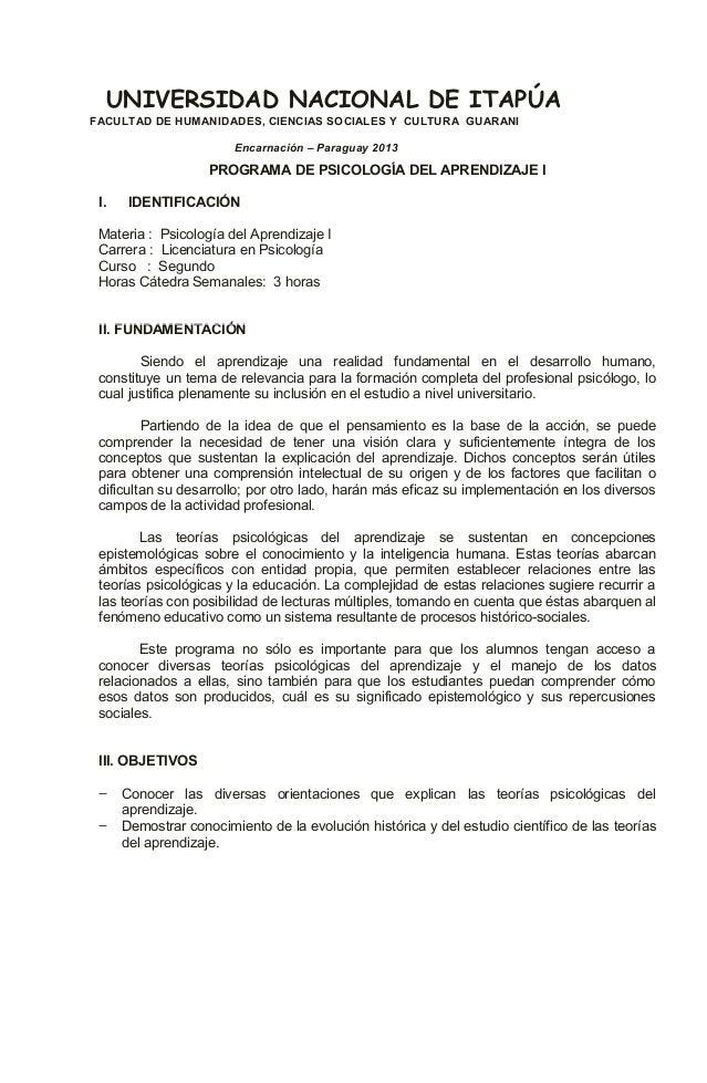 PROGRAMA DE PSICOLOGÍA DEL APRENDIZAJE II. IDENTIFICACIÓNMateria : Psicología del Aprendizaje ICarrera : Licenciatura en P...