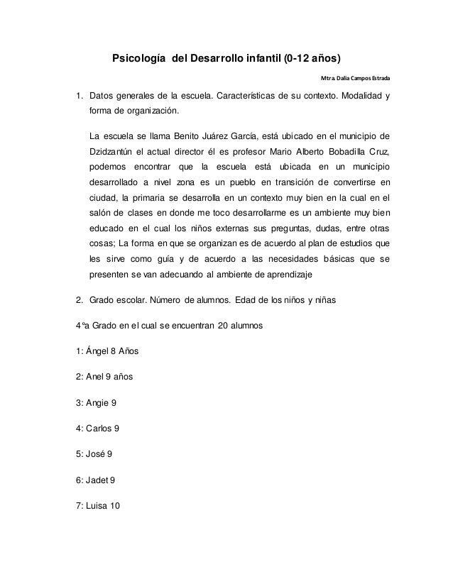 Psicología del Desarrollo infantil (0-12 años) Mtra. DaliaCamposEstrada 1. Datos generales de la escuela. Características ...