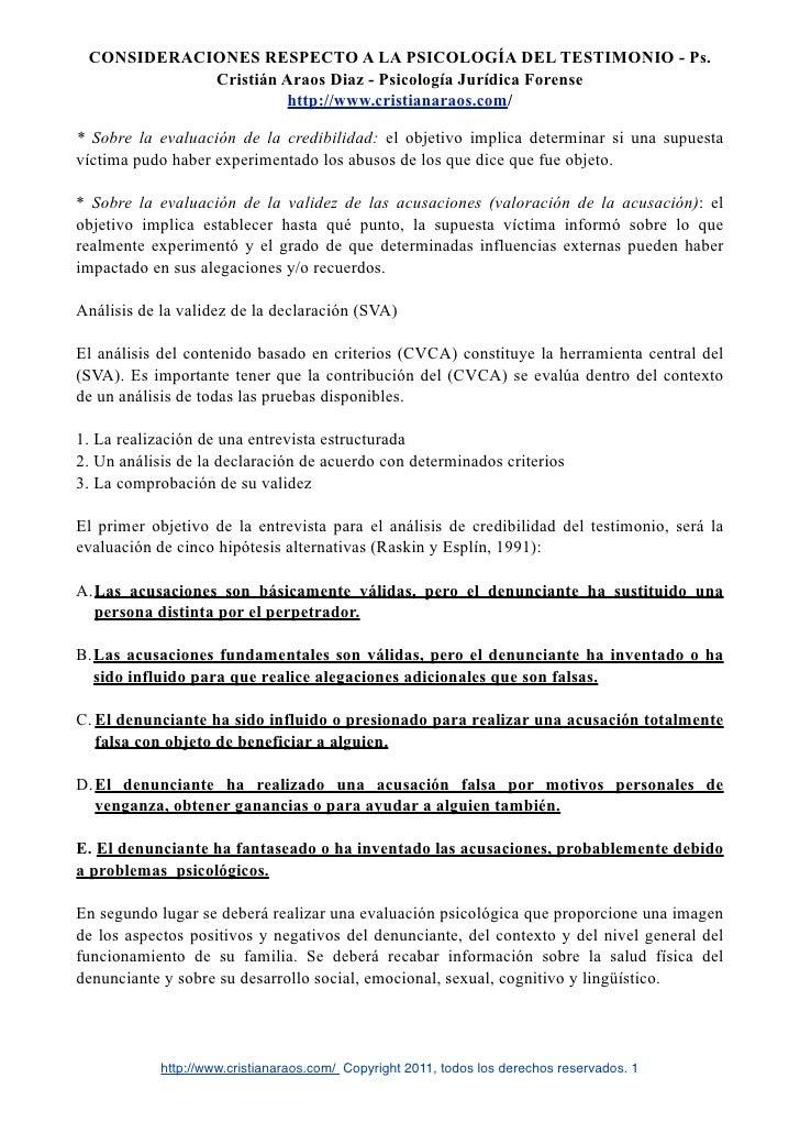 CONSIDERACIONES RESPECTO A LA PSICOLOGÍA DEL TESTIMONIO - Ps.            Cristián Araos Diaz - Psicología Jurídica Forense...
