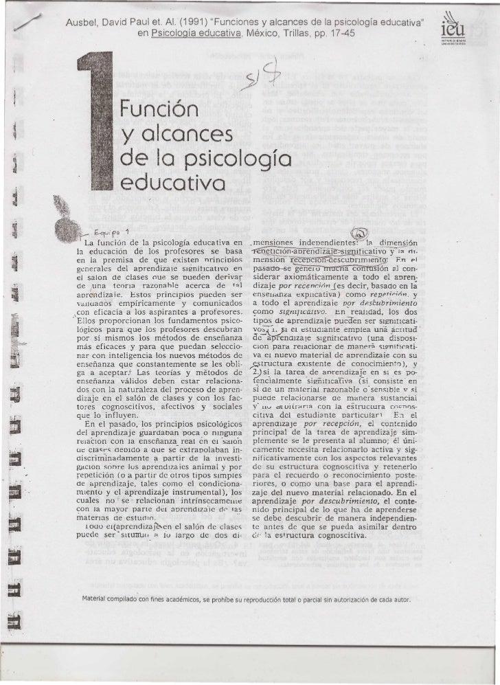 """Ausbel     David Paui eL Al. (1991) """"Funciones y alcances de la psicología educativa""""                      ,        en Psi..."""
