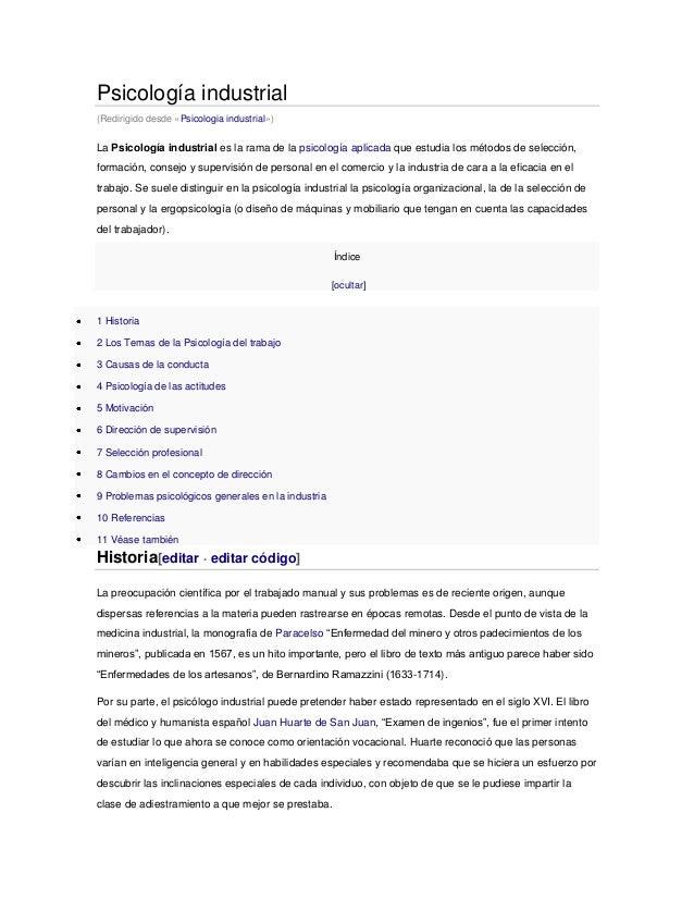 Psicología industrial (Redirigido desde «Psicologia industrial»)  La Psicología industrial es la rama de la psicología apl...