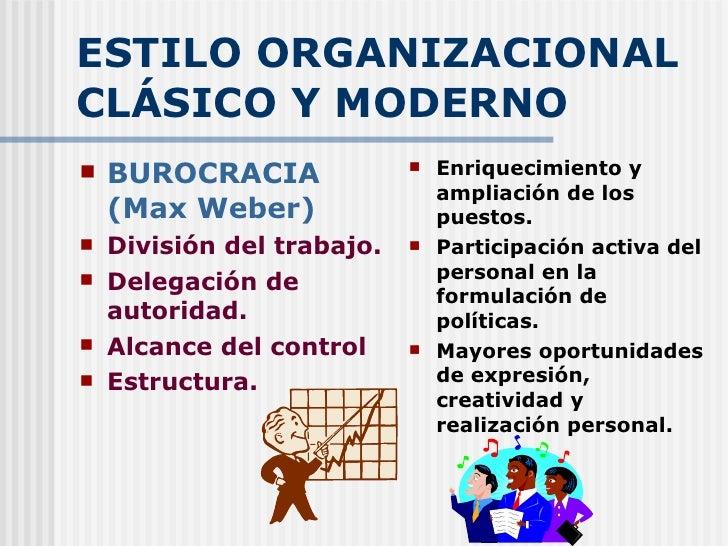 ESTILO ORGANIZACIONAL CLÁSICO Y MODERNO <ul><li>BUROCRACIA (Max Weber) </li></ul><ul><li>División del trabajo. </li></ul><...