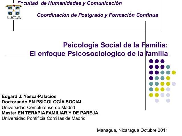Facultad de Humanidades y Comunicación              Coordinación de Postgrado y Formación Continua                    Psic...