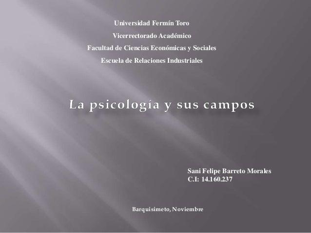 Universidad Fermín Toro        Vicerrectorado AcadémicoFacultad de Ciencias Económicas y Sociales    Escuela de Relaciones...