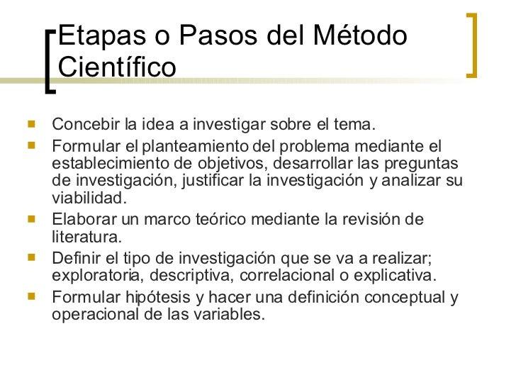 Etapas o Pasos del Método Científico <ul><li>Concebir la idea a investigar sobre el tema. </li></ul><ul><li>Formular el pl...