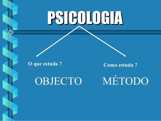 PSICOLOGIAPSICOLOGIA OBJECTO O que estuda ? Como estuda ? MÉTODO