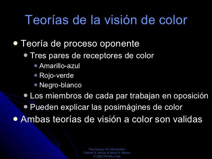 Teorías de la visión de color <ul><li>Teoría de proceso oponente  </li></ul><ul><ul><li>Tres pares de receptores de color ...