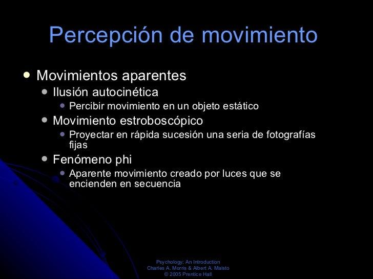 Percepción de movimiento  <ul><li>Movimientos aparentes  </li></ul><ul><ul><li>Ilusión autocinética  </li></ul></ul><ul><u...