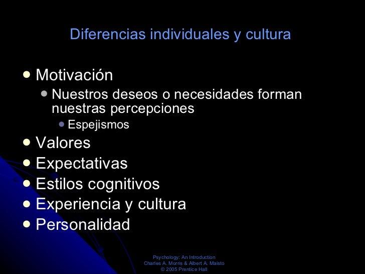 Diferencias individuales y cultura  <ul><li>Motivación  </li></ul><ul><ul><li>Nuestros deseos o necesidades forman nuestra...