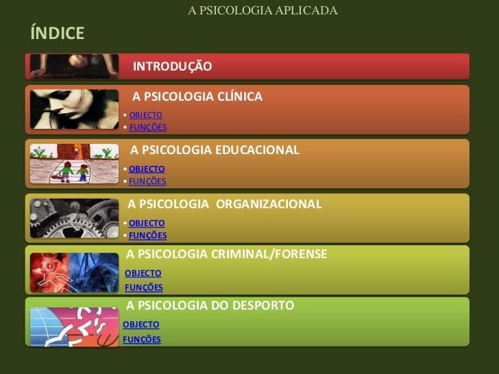 A PSICOLOGIA APLICADAÍNDICE           INTRODUÇÃO           A PSICOLOGIA CLÍNICA         • OBJECTO         • FUNÇÕES       ...