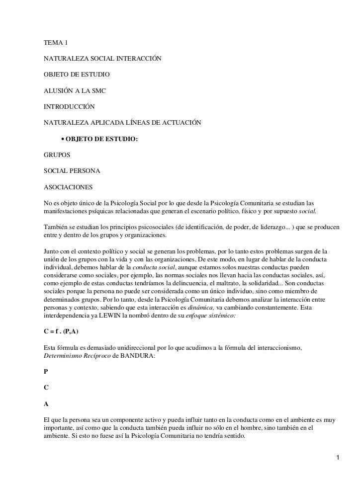 TEMA 1NATURALEZA SOCIAL INTERACCIÓNOBJETO DE ESTUDIOALUSIÓN A LA SMCINTRODUCCIÓNNATURALEZA APLICADA LÍNEAS DE ACTUACIÓN   ...