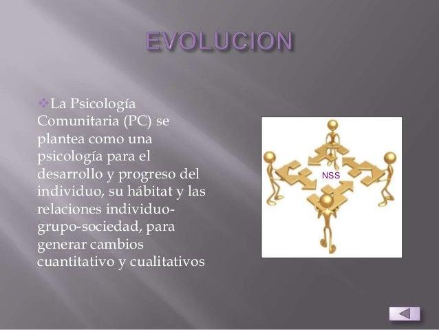 La PsicologíaComunitaria (PC) seplantea como unapsicología para eldesarrollo y progreso delindividuo, su hábitat y lasrel...