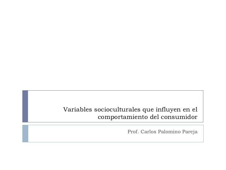 Variables socioculturales que influyen en el comportamiento del consumidor Prof. Carlos Palomino Pareja