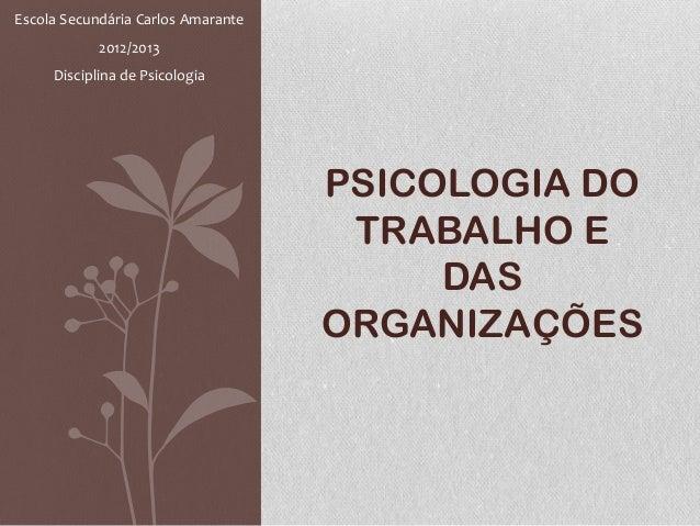 PSICOLOGIA DOTRABALHO EDASORGANIZAÇÕESEscola Secundária Carlos Amarante2012/2013Disciplina de Psicologia