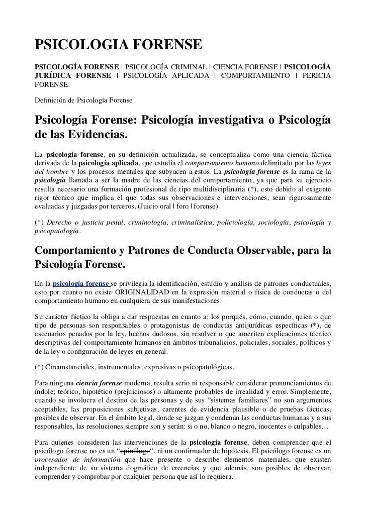 Psicologia Forense Definicion Y Concepto