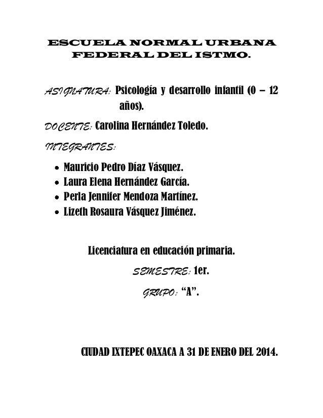 ESCUELA NORMAL URBANA FEDERAL DEL ISTMO.  ASIGNATURA: Psicología y desarrollo infantil (0 – 12 años). DOCENTE: Carolina He...