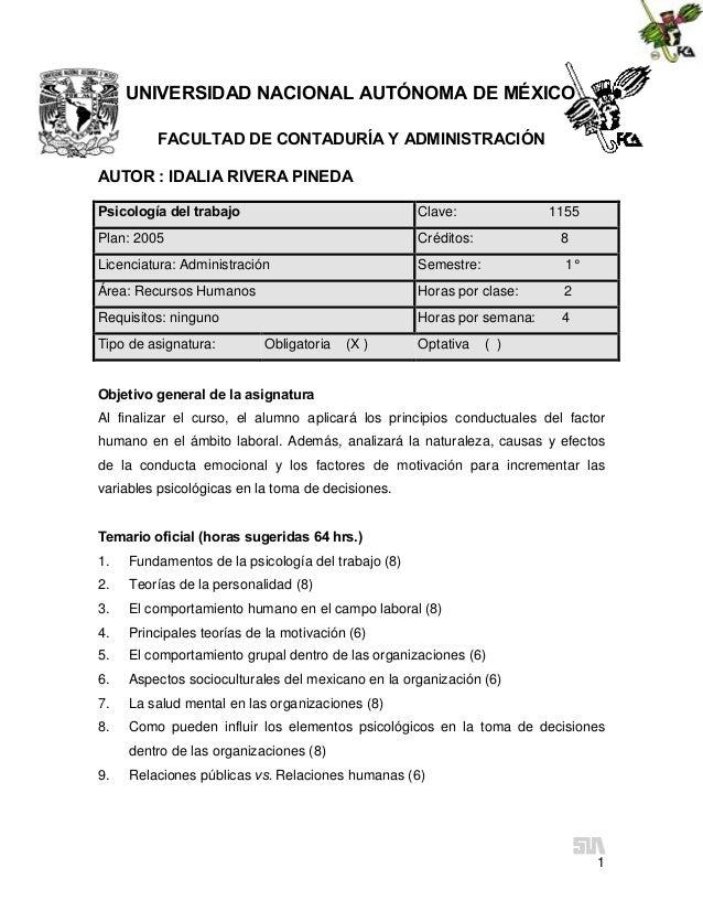 UNIVERSIDAD NACIONAL AUTÓNOMA DE MÉXICO FACULTAD DE CONTADURÍA Y ADMINISTRACIÓN AUTOR : IDALIA RIVERA PINEDA Psicología de...