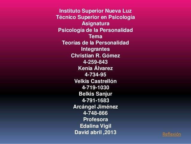 Instituto Superior Nueva Luz Técnico Superior en Psicología Asignatura Psicología de la Personalidad Tema Teorías de la Pe...