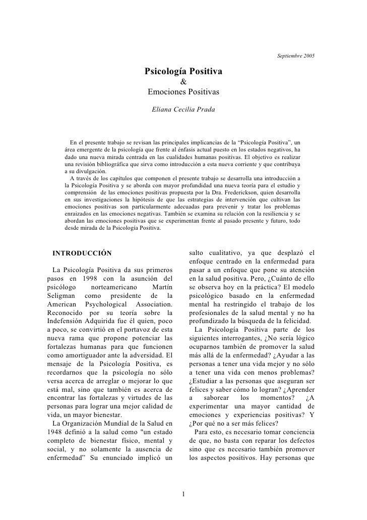 Septiembre 2005                                         Psicología Positiva                                               ...