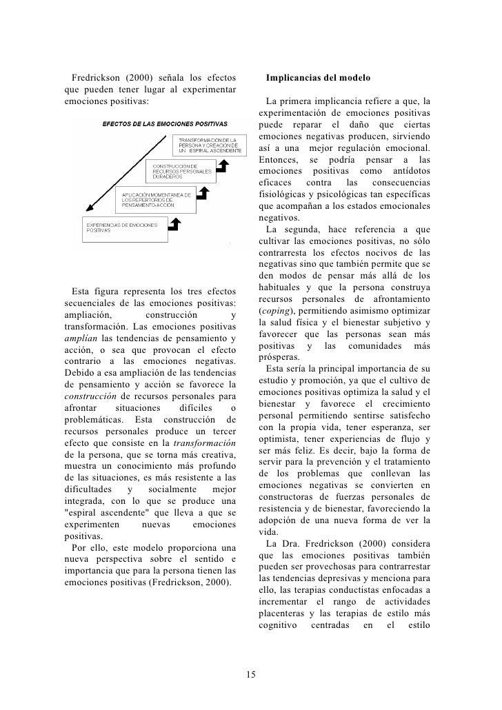 Fredrickson (2000) señala los efectos               Implicancias del modelo que pueden tener lugar al experimentar emocion...