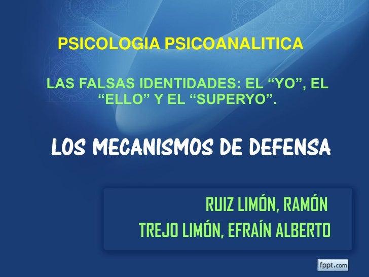 """PSICOLOGIA PSICOANALITICALAS FALSAS IDENTIDADES: EL """"YO"""", EL      """"ELLO"""" Y EL """"SUPERYO"""".LOS MECANISMOS DE DEFENSA         ..."""