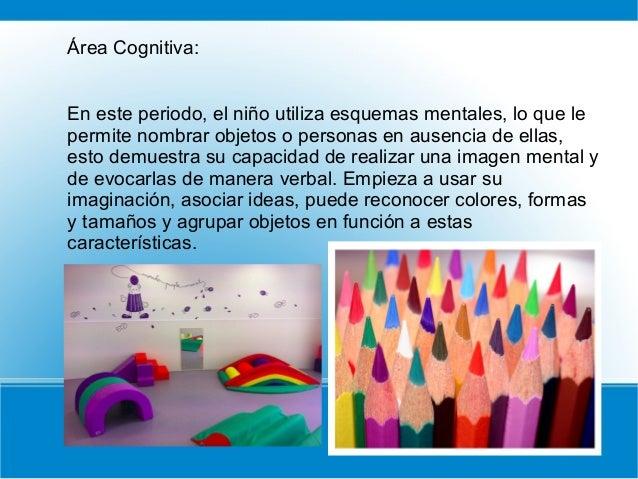 Área Cognitiva: En este periodo, el niño utiliza esquemas mentales, lo que le permite nombrar objetos o personas en ausenc...