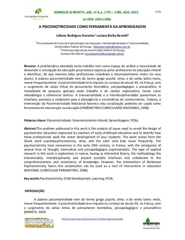 DORNELES & BENETTI, v(8), nº 8, p. 1775 – 1786, AGO, 2012. (e-ISSN: 2236-1308) http://cascavel.ufsm.br/revistas/ojs-2.2.2/...