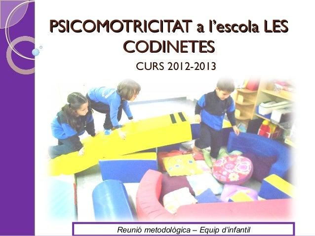 PSICOMOTRICITAT a l'escola LES       CODINETES             CURS 2012-2013        Reunió metodològica – Equip d'infantil