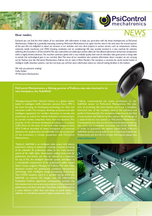 news 1 Wevelgem-based West Flemish Traficon is a global market leader in intelligent traffic detection systems. Since 1992...