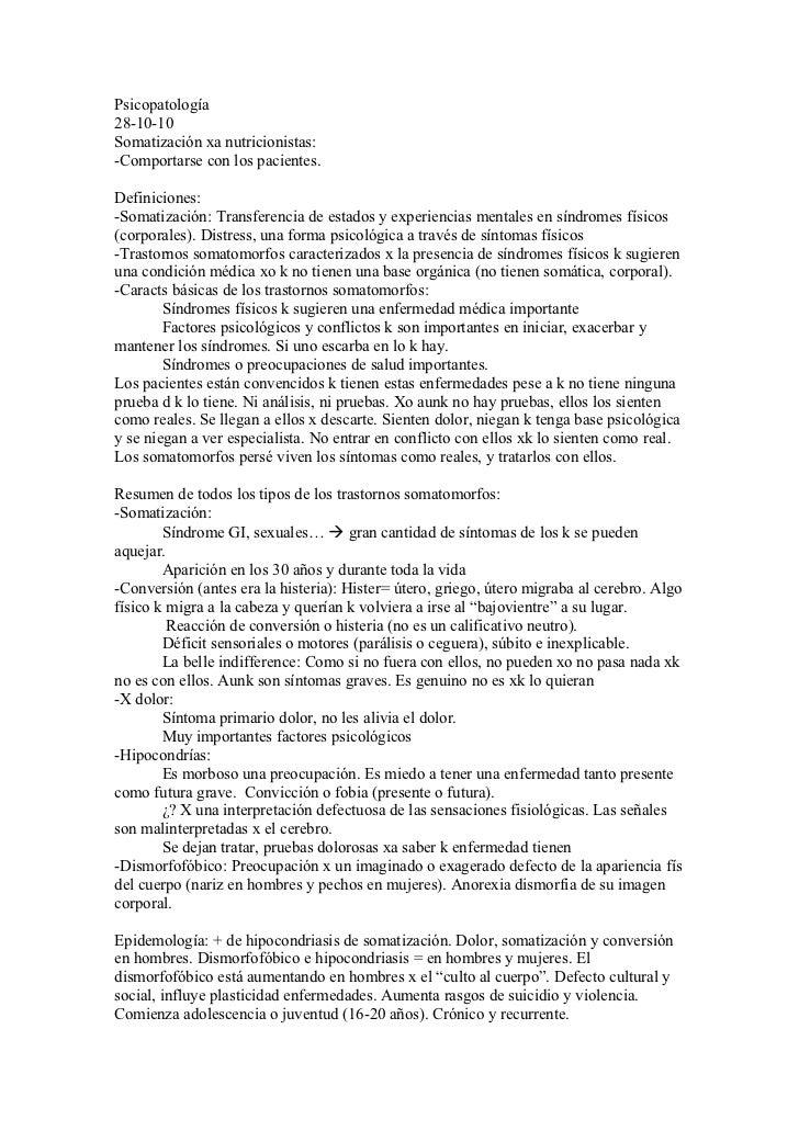 Psicopatología28-10-10Somatización xa nutricionistas:-Comportarse con los pacientes.Definiciones:-Somatización: Transferen...