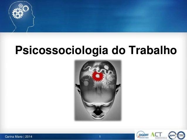 Psicossociologia do Trabalho 1Carina Mano | 2014