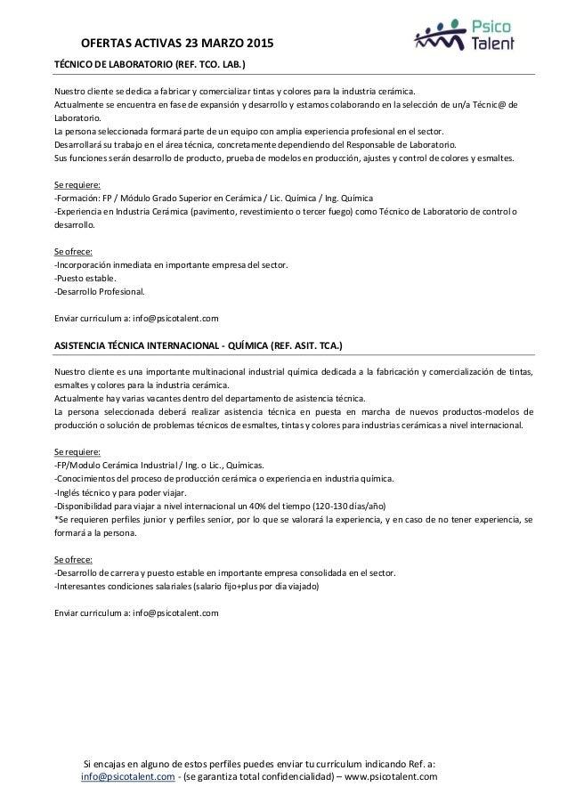 Psicotalent ofertas actuales 23 marzo 2015 Slide 3