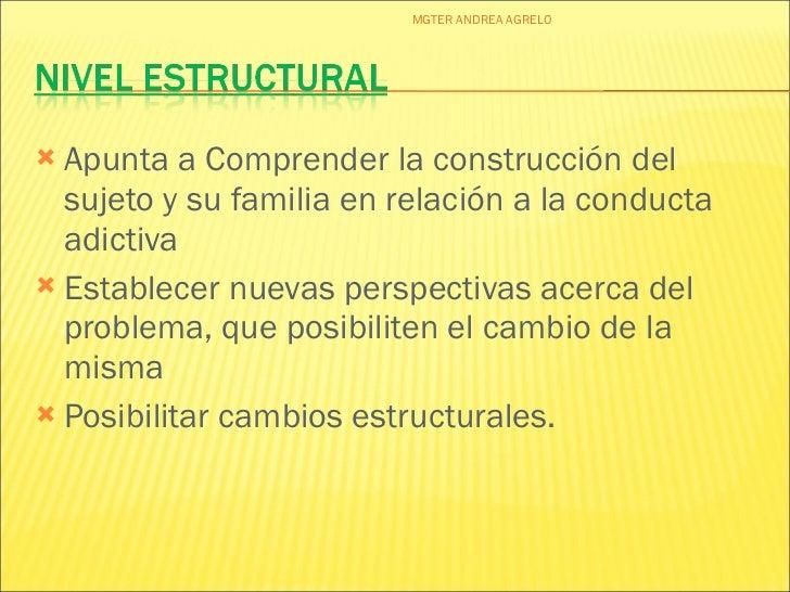 <ul><li>Apunta a Comprender la construcción del sujeto y su familia en relación a la conducta adictiva </li></ul><ul><li>E...