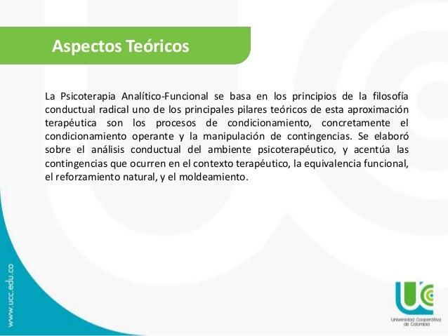 Aspectos Teóricos La Psicoterapia Analítico-Funcional se basa en los principios de la filosofía conductual radical uno de ...