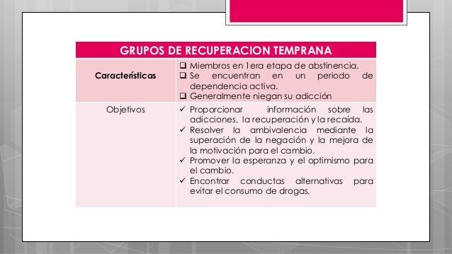 GRUPOS DE RECUPERACION TEMPRANA Características  Miembros en 1era etapa de abstinencia.  Se encuentran en un periodo de ...