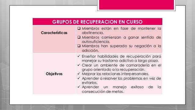 GRUPOS DE RECUPERACION EN CURSO Características  Miembros están en fase de mantener la abstinencia.  Miembros comienzan ...