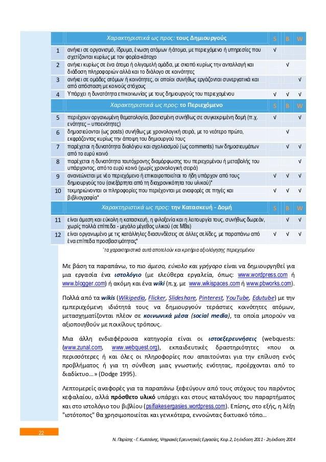 22  Χαρακτθριςτικά ωσ προσ: τουσ Δθμιουργοφσ S B W  1 αλήθεη ζε νξγαληζκό, ίδξπκα, έλσζε αηόκσλ ή άηνκα, κε πεξηερόκελν ή ...