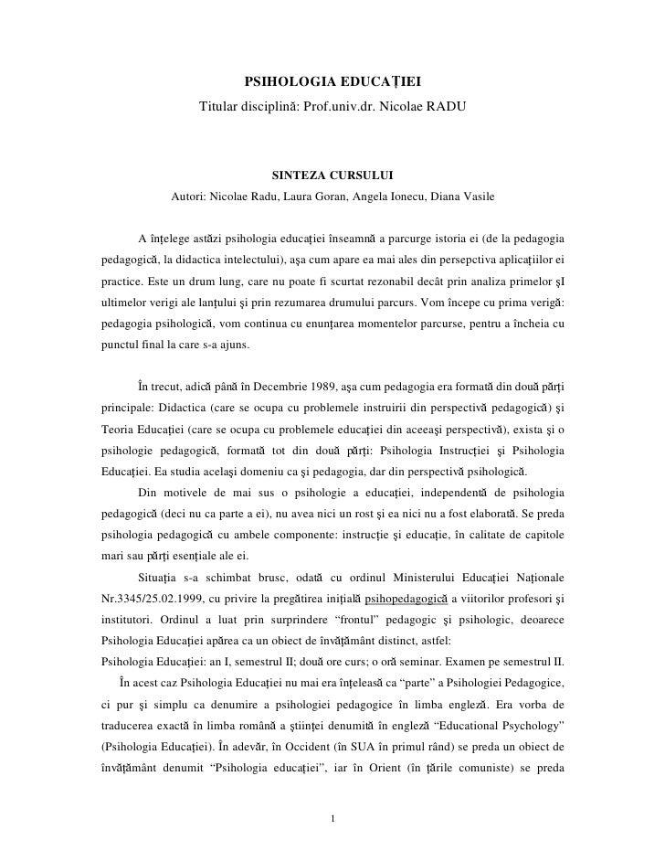 PSIHOLOGIA EDUCAŢIEI                      Titular disciplină: Prof.univ.dr. Nicolae RADU                                  ...