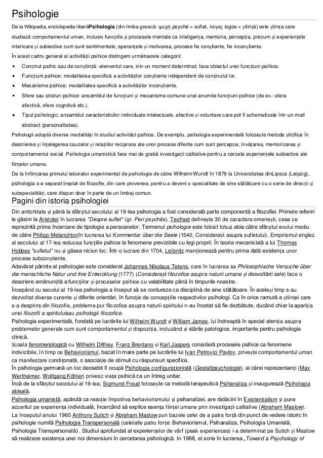 Psihologie De la Wikipedia, enciclopedia liberăPsihologia (din limba greacă: τςσή psyché = suflet, λόγορ logos = știință) ...