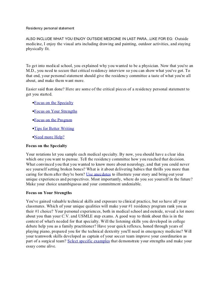 Personal Statement Residency - Design Templates