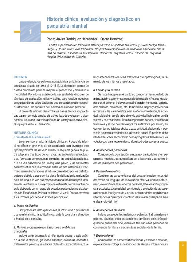Historia clínica, evaluación y diagnóstico en psiquiatría infantial  1 Pedro Javier Rodríguez Hernández1, Oscar Herreros2 ...