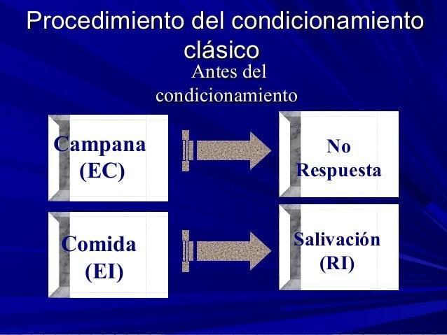 Procedimiento del condicionamientoProcedimiento del condicionamiento clásicoclásico Antes delAntes del condicionamientocon...